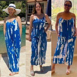 Oversized Tie Dye Boho Jumpsuit Bright Blue/White